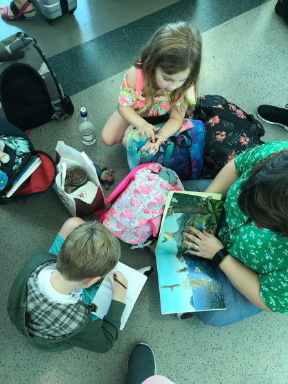 Delayed flight... colouring activities it is.