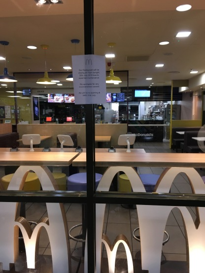 Wanted maccy d's breakfast and fleet let us down! :( still my favourite services!