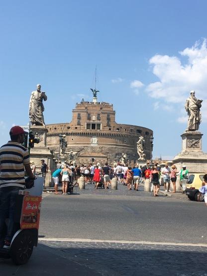 "Pont Sant Angelo - ""Bridge of Angels"" - approaching the Castle."