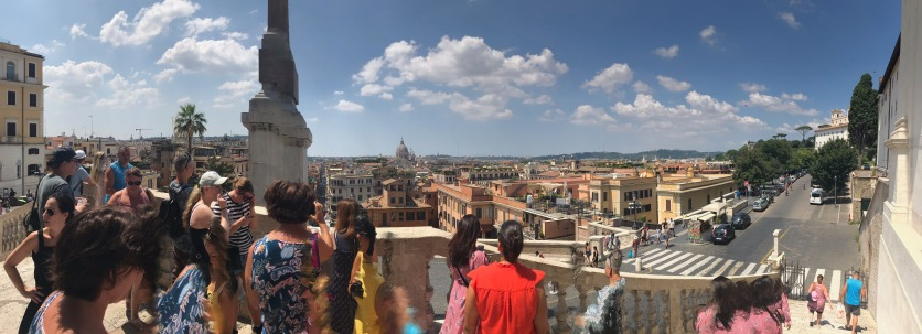 Panoramic from top of Spanish Steps